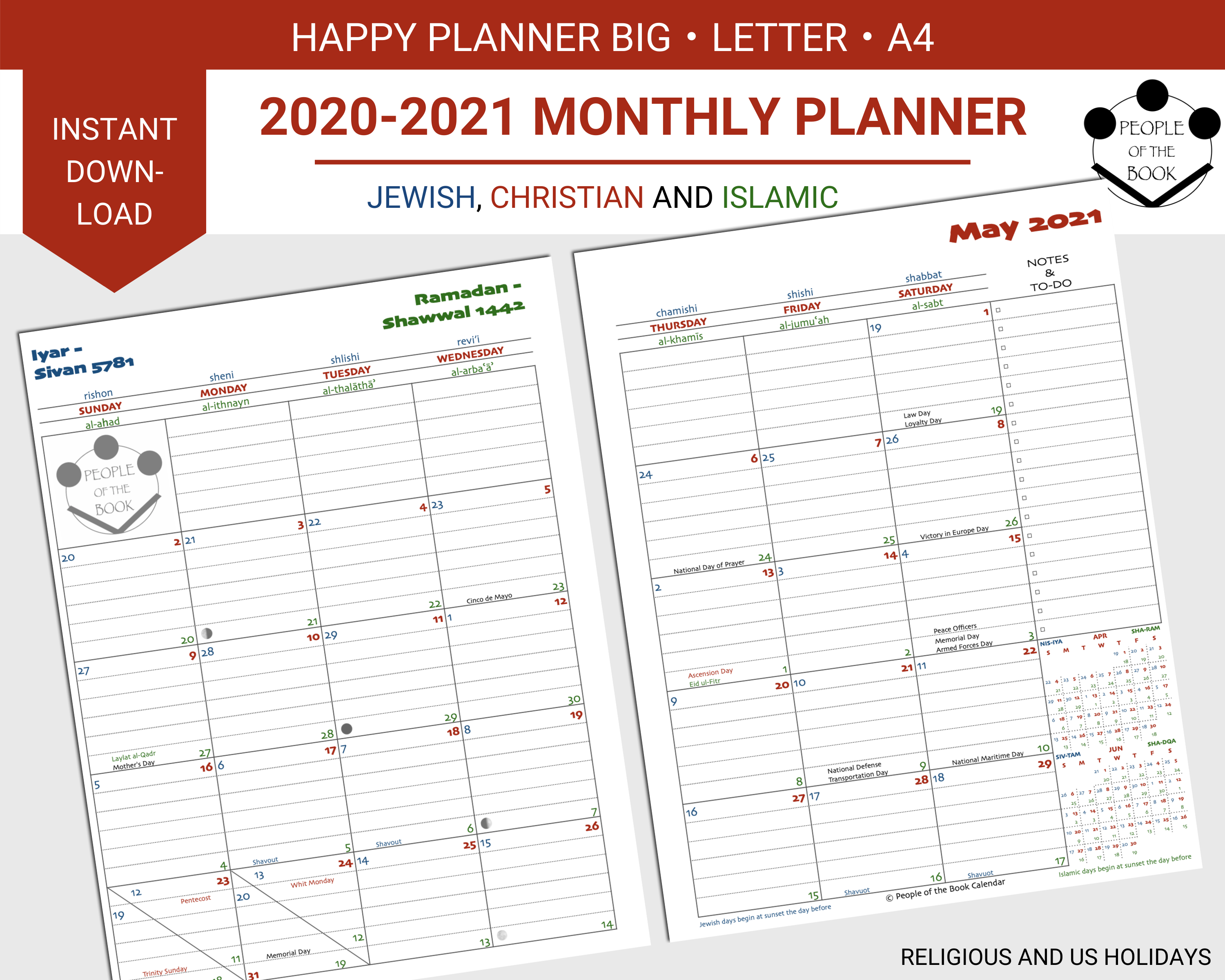 2020-2021 Monthly Two-Page Spread - People of the Book ...